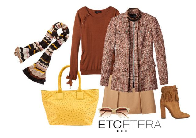 """""""Etcetera: Fall University jacket and Striped scarf."""" by etcetera-nyc ❤ liked on Polyvore"""