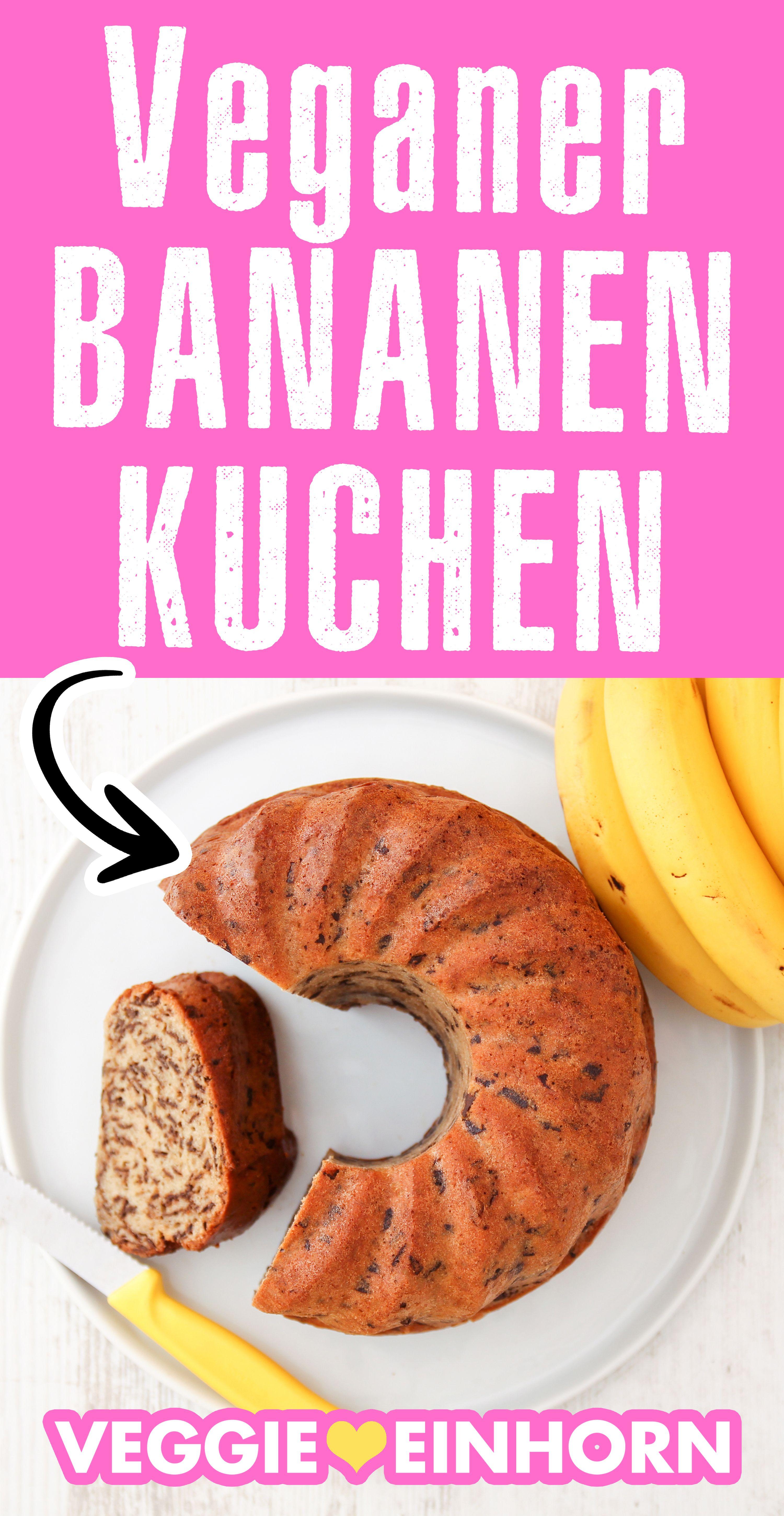 Einfacher veganer Kuchen | Saftiger Bananenkuchen mit Schokolade | Schnell und lecker