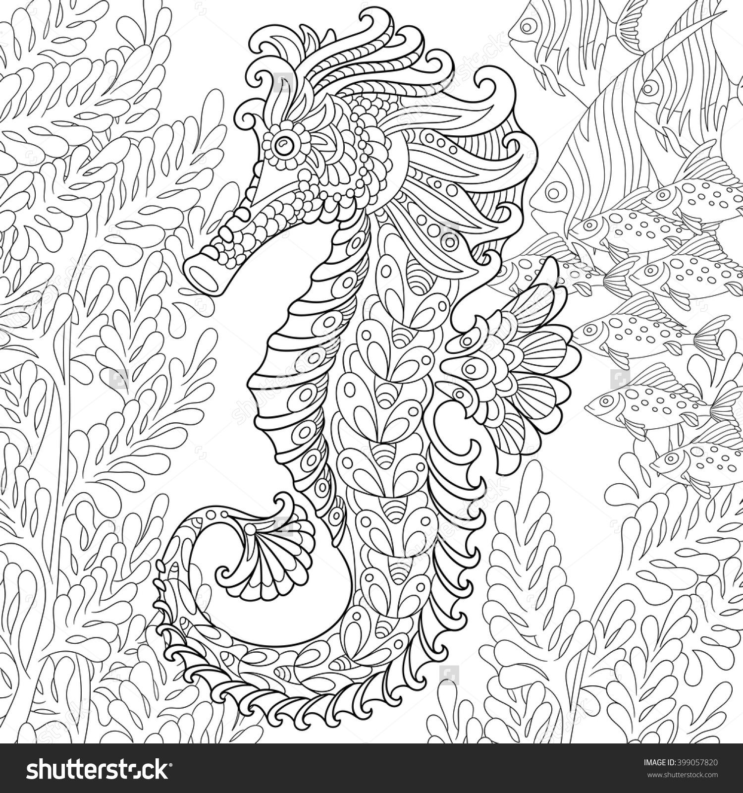 Zentangle stylized cartoon seahorse and tropical fish among seaweed ...