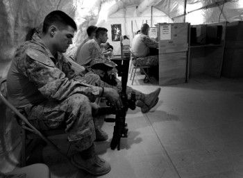 His life <3  Waiting for an hour to call home <3 I love my Marine.