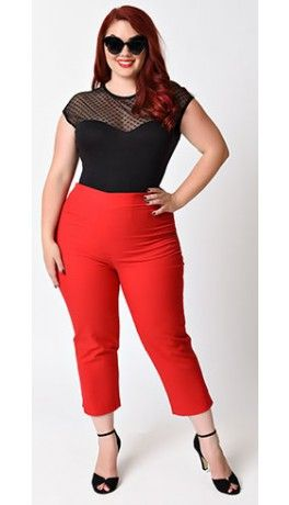 Plus Size 1950s Rockabilly Style Cherry Red High Waist Stretch Capri Pants