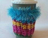 Crochet Coffee Cup Cozy Sleeve Bright Pink Turquoise Gold and Green with Eyelash yarn Trim