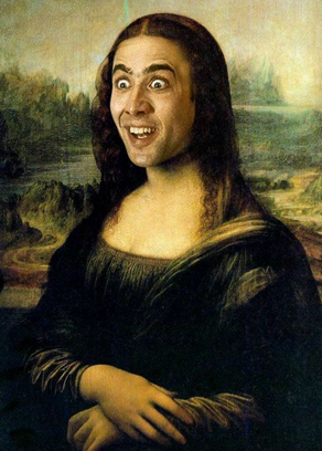 The Masterpiece That Is Nic Cage As Mona Lisa Mona Lisa Mona Lisa Parody Mona Lisa Smile
