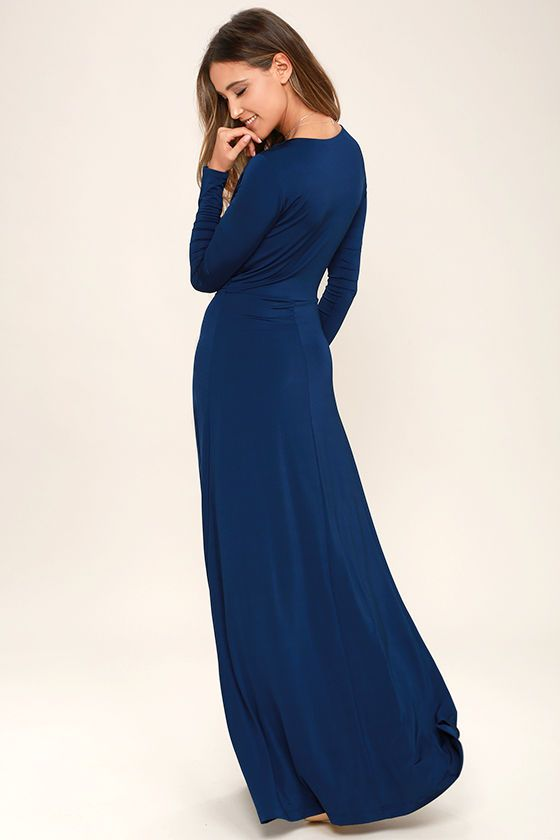 459e0a0218a77 Usher in the seasons with style in the Chic-quinox Navy Blue Long Sleeve  Maxi