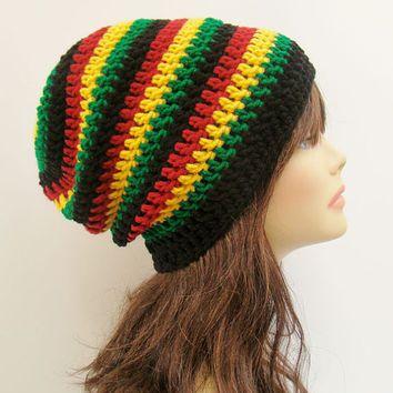 FREE SHIPPING - UNISEX Slouchy Crochet Beanie Hat - Rasta - Red ...