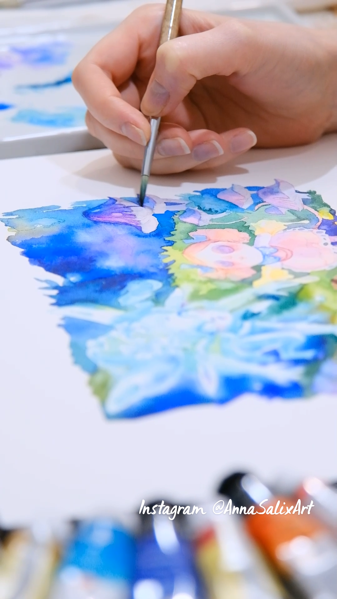 watercolor book illustration painting process