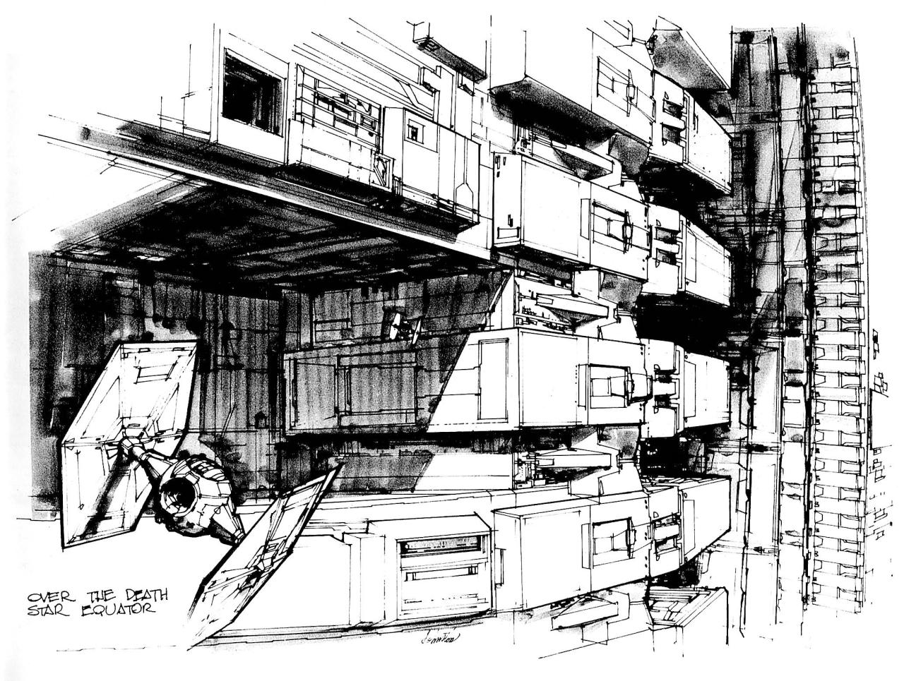Death Star concept art by Joe Johnston, 1975-1976. | Raiders of the Lost Tumblr