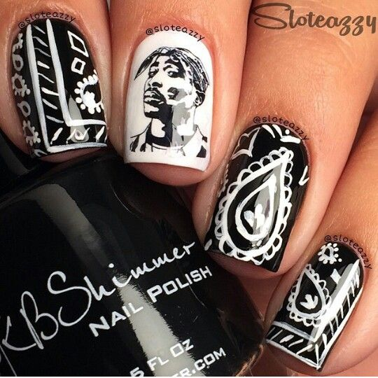 Bandana Gangsta Nails Blavk And White Omg I Love These Nail Styles