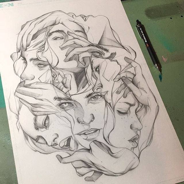 Photo of hands drawing