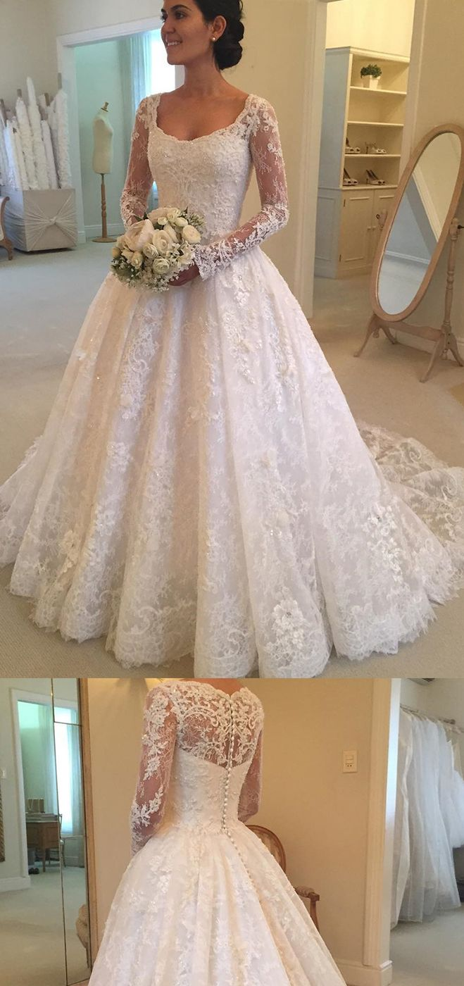 Wedding dresses with train   Long Sleeves Scoop Tulle With Applique A Line Court Train