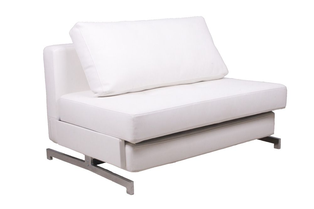 Modern White Leather Textile Sofa Sleeper K43 1 By Ido With