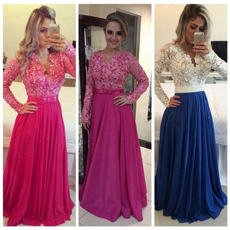 d643f2add Barato Vestido de festa frisada Lace longo vestidos mangas compridas azul  Vestido de noite vestidos mulheres do partido Prom para a ocasião especial