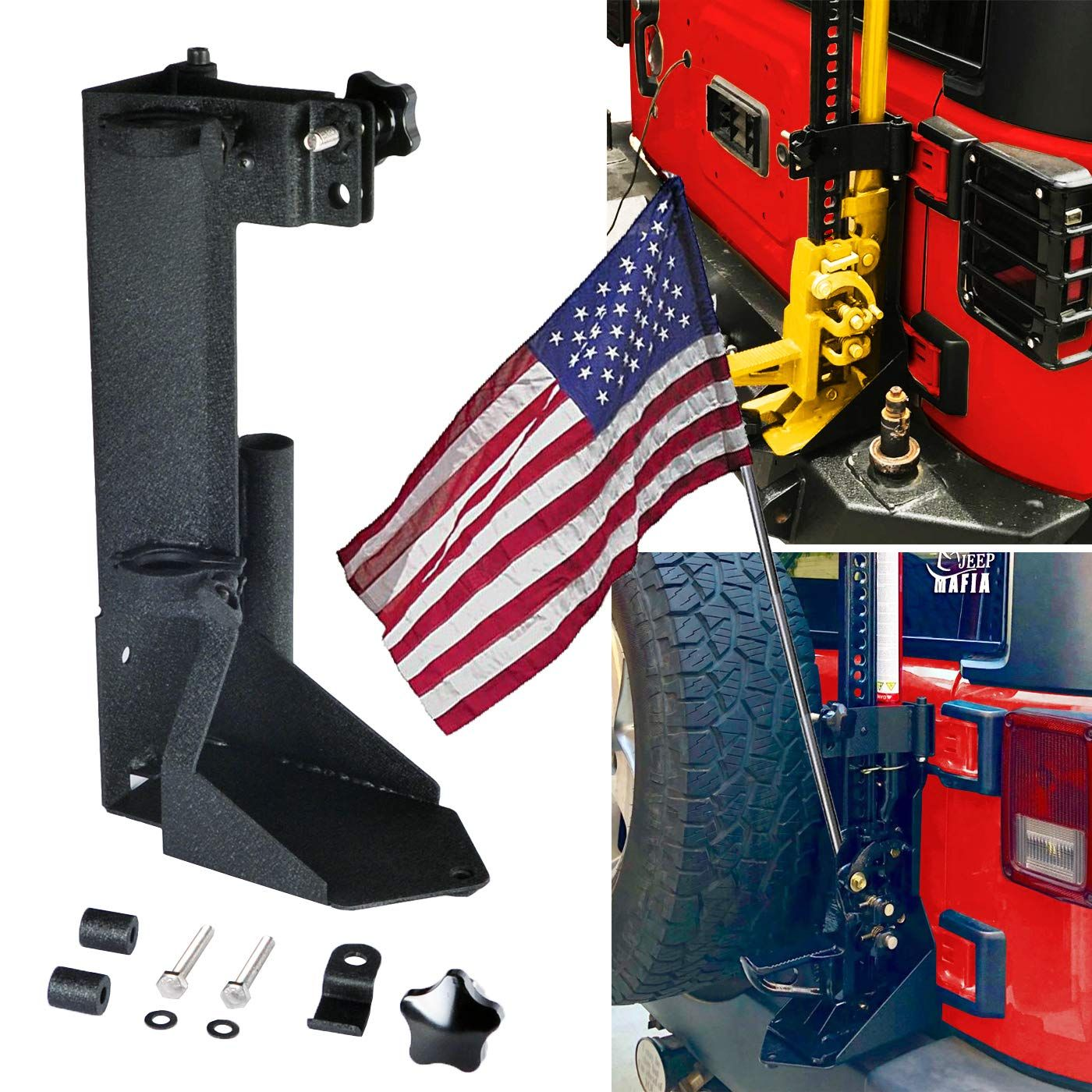 Omotor Off Road Tailgate High Lift Jack Mount With Flag Poles