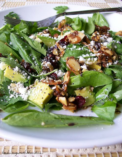 Baking with Blondie : Cranberry-Avocado Salad with Candied Spiced Almonds and Poppy Seed Balsamic Vinaigrette