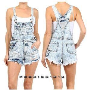 7a6570a7b0d Acid wash distressed ripped denim jeans cut off shorts overalls ...