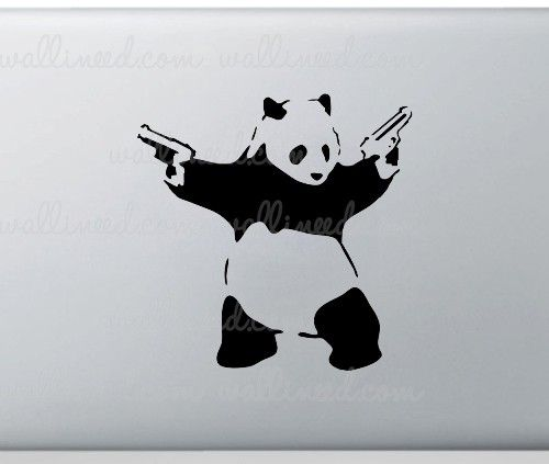 Banksy Panda With Guns Laptop Sticker Laptop Stickers Stickers Panda