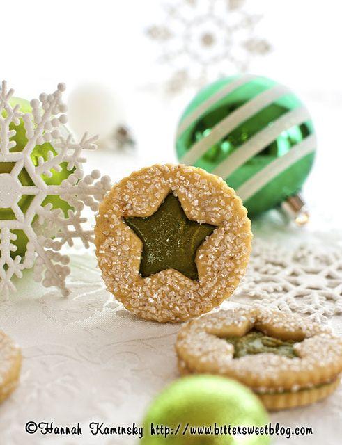 pistachio praline linzer cookies.