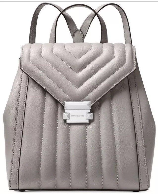 ❤️Michael Kors Whitney Quilted Pearl Grey Leather Backpack Original  Packaging d2a63e3c0ee