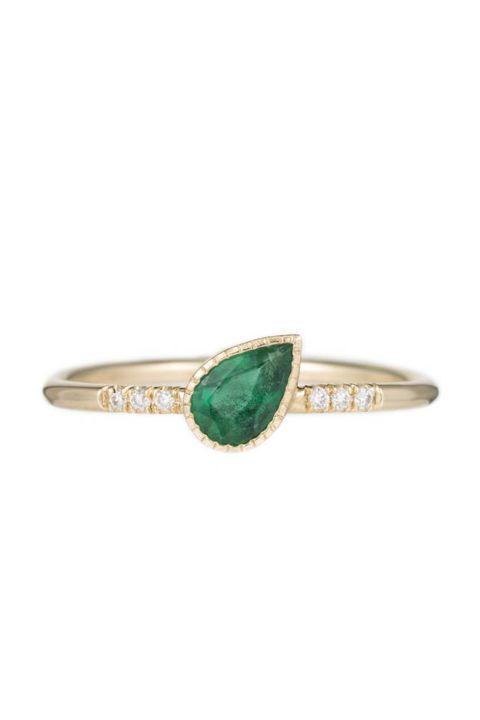 Jennie Kwon Emerald Tilt Equilibrium Ring, $920; jenniekwondesigns.com