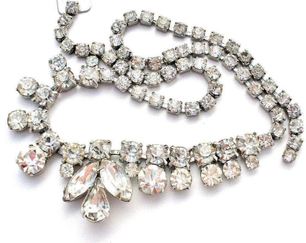 Vintage Weiss Clear Rhinestone Necklace #vintagerhinestone