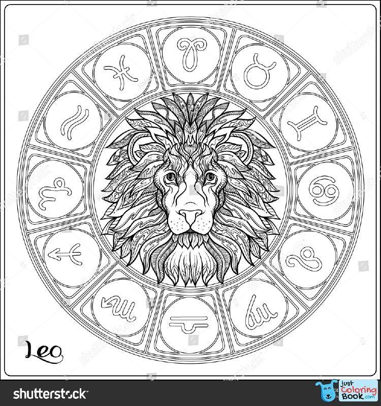 Leo Lion Zodiac Sign Astrological Horoscope Image Regarding Free Download Printable Leo Zodiac Sign Colo Lion Coloring Pages Coloring Pages Zodiac Signs Colors