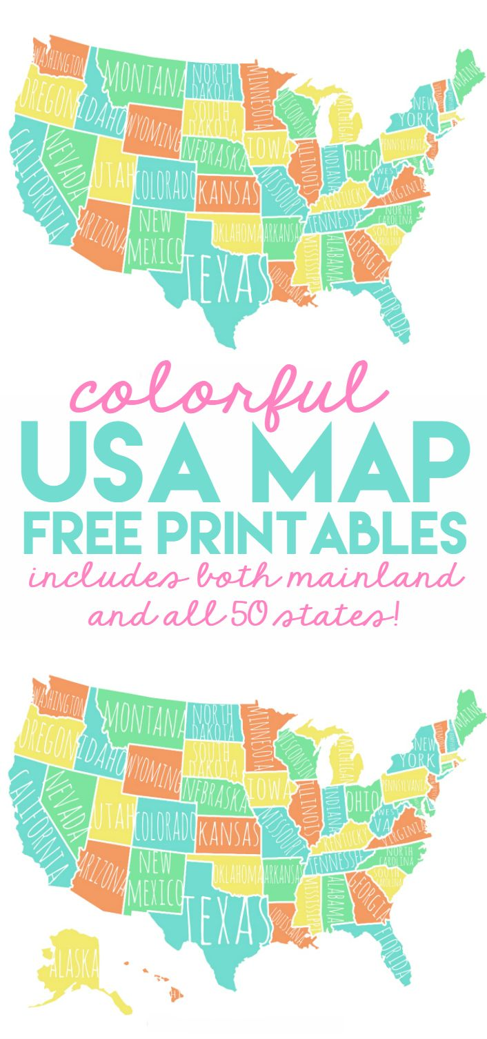 Colorful Map Of Usa.Colorful Usa Map Free Printable Lolly Jane Free Printables