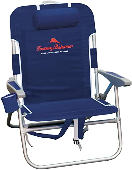 Amazon Com Tommy Bahama Big Boy 4 Position Folding 13 High Seat Backpack Beach Or Camping Chair Navy Sp In 2021 Backpack Beach Chair Backpacking Chair Beach Chairs