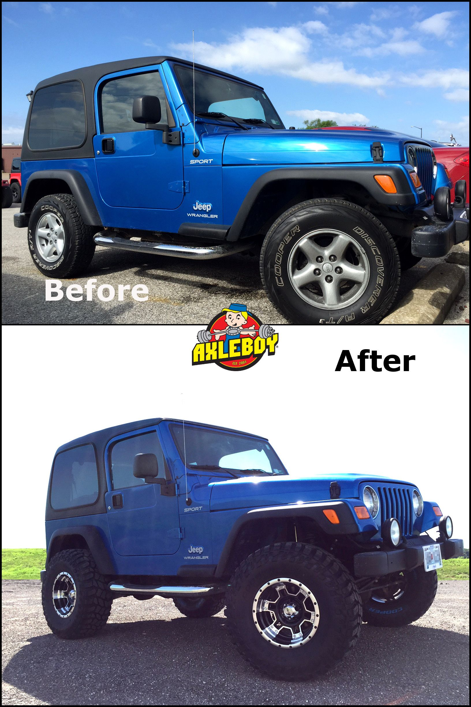 Before and after comparison of a 2003 Jeep Wrangler. We added a 3 ...