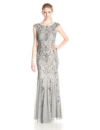 Adrianna Papell Women's Cap Sleeve Beaded Gown, Mist, 14 Adrianna ...