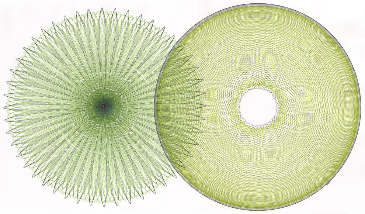 'Green duet' by American artist Mary Wagner. Two colors of green ink, gray ink, black ink on white Borden & Riley drawing paper, 58 x 36 in. via the artist's site parametric drawing