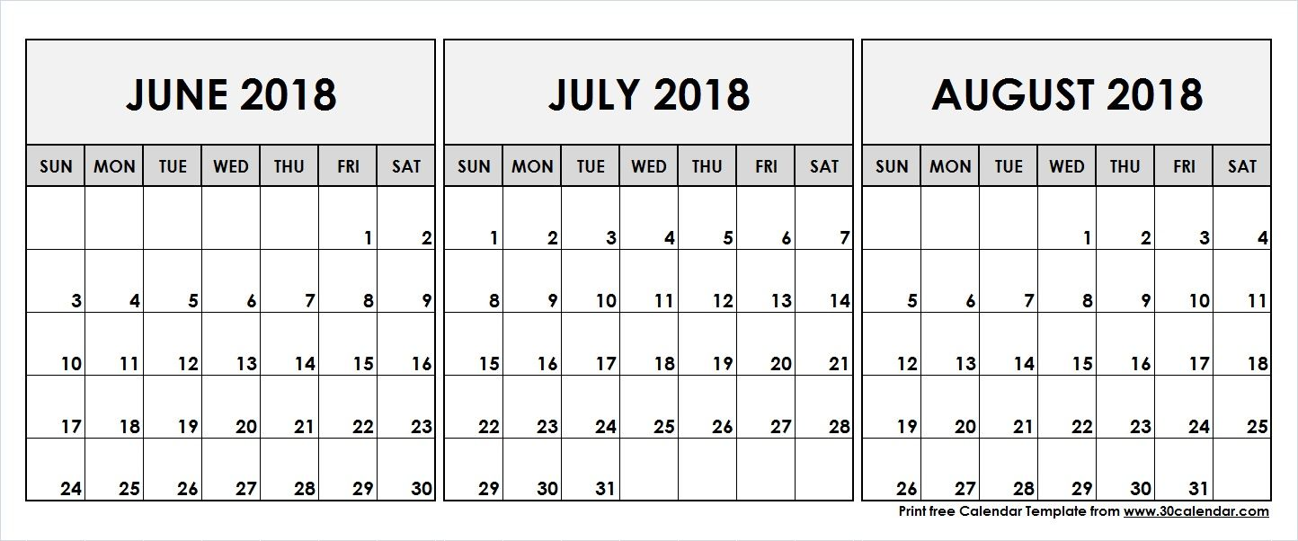 June July August 2018 Printable Calendar 2018 Calendar August