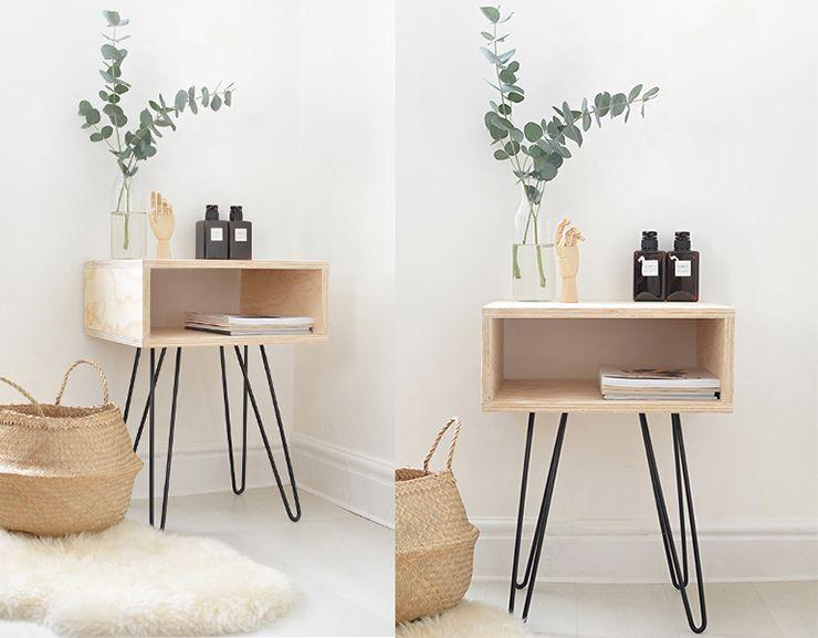 Moderne minimalistische slaapkamer interieur met houten