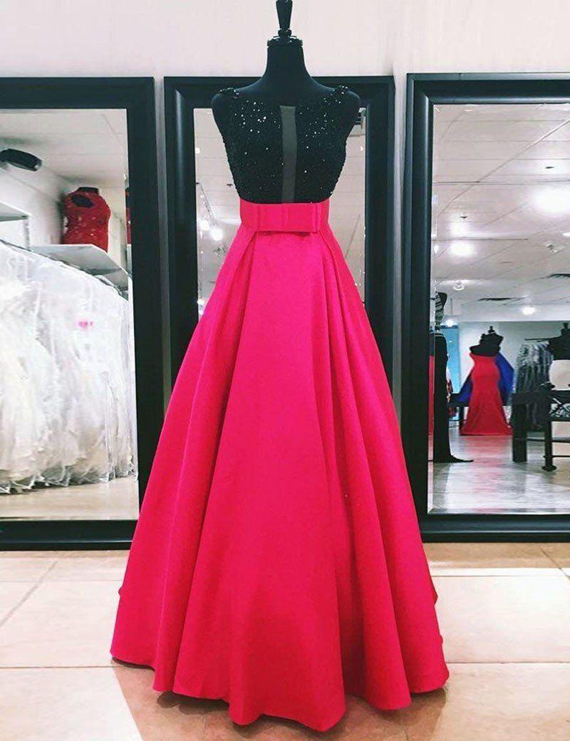 A Line Bateau Floor Length Fuchsia Prom Dress With Beading Bowknot