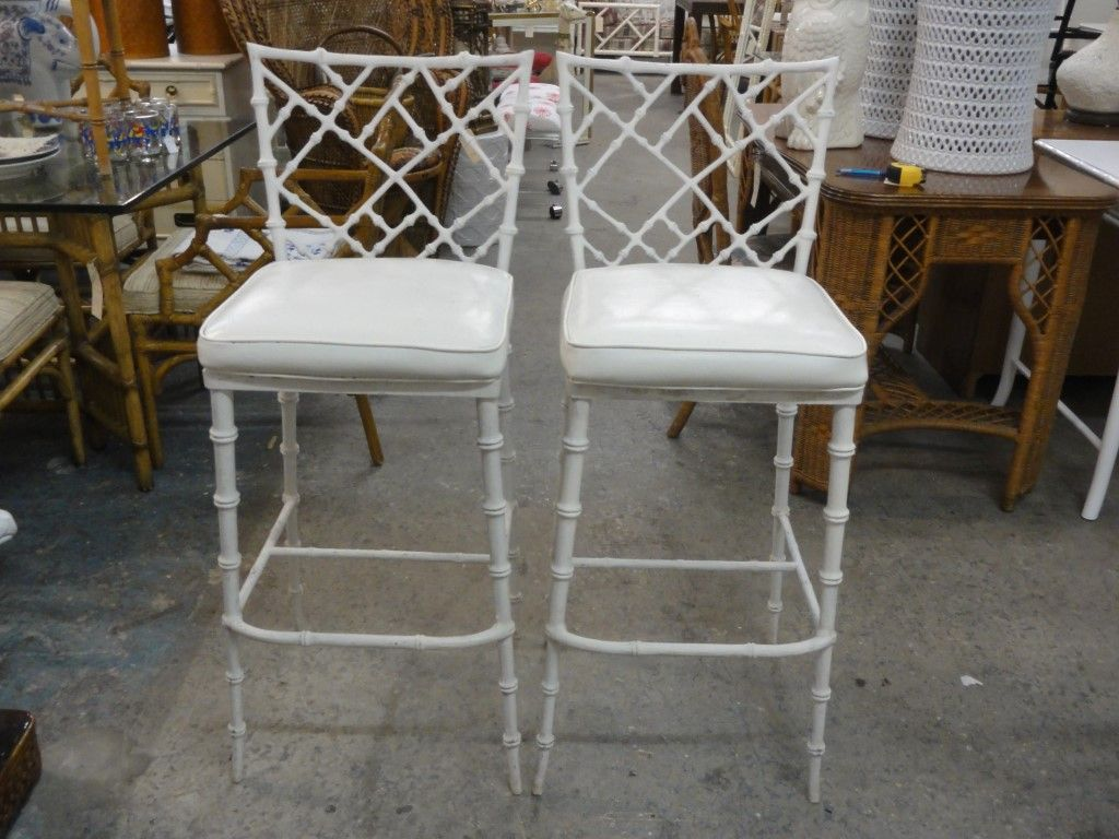 Faux Bamboo Chippendale Barstools
