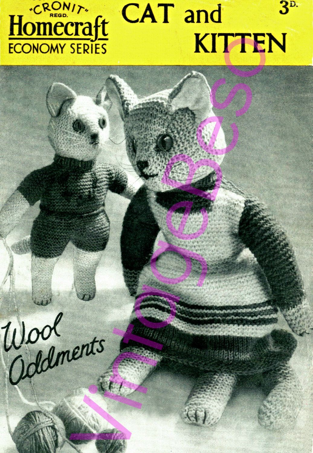 Vintage 40s Wartime Knitting Pattern makes Mother Cat 15\