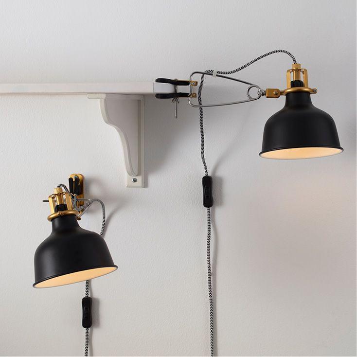 RANARP Wallclamp spotlight, black IKEA   Wall lamp, Wall