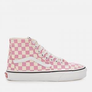 Vans Women's Sk8-Hi Tapered Checkerboard Hi-Top Trainers - Fuchsia Pink/True White  Womens Footwear