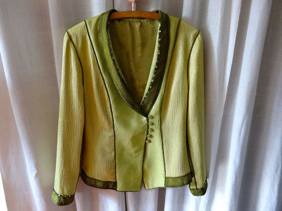 Chic and retro jacket anise green and bronze by MesOdalisques