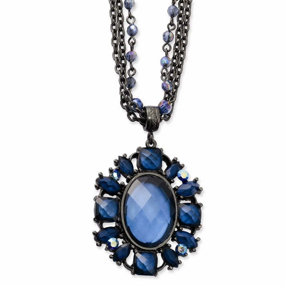 Black-plated Blue Glass Stone and Beads 22in Necklace – Goldia.com