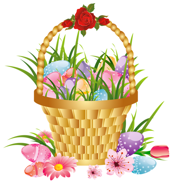 Easter Basket With Eggs And Flowers Png Picture Clipart Easter Graphics Happy Easter Pictures Inspiration Easter Backgrounds