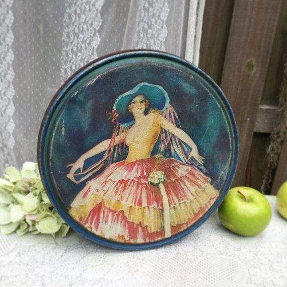 Antique Art Deco Decorative Tin Litho Box w/ by WonderCabinetArts