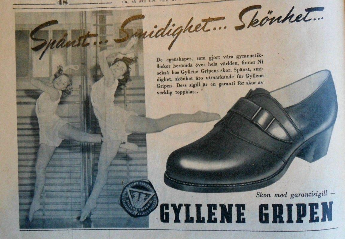 Ad for Gyllene Gripen shoes 1947