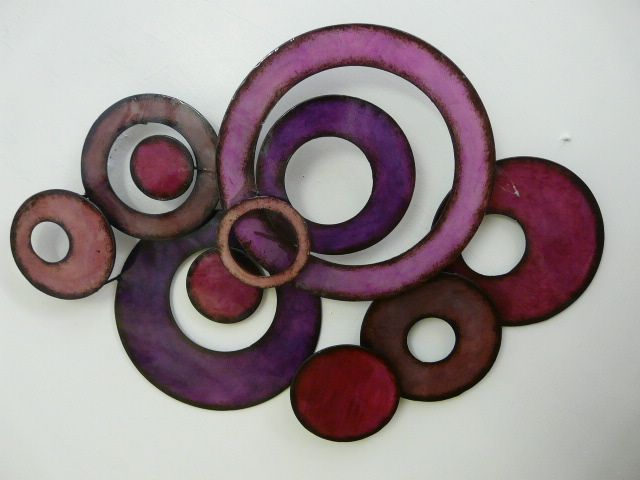 Purple Metal Wall Art metal wall art decor sculpture purple linked circle disc abstract