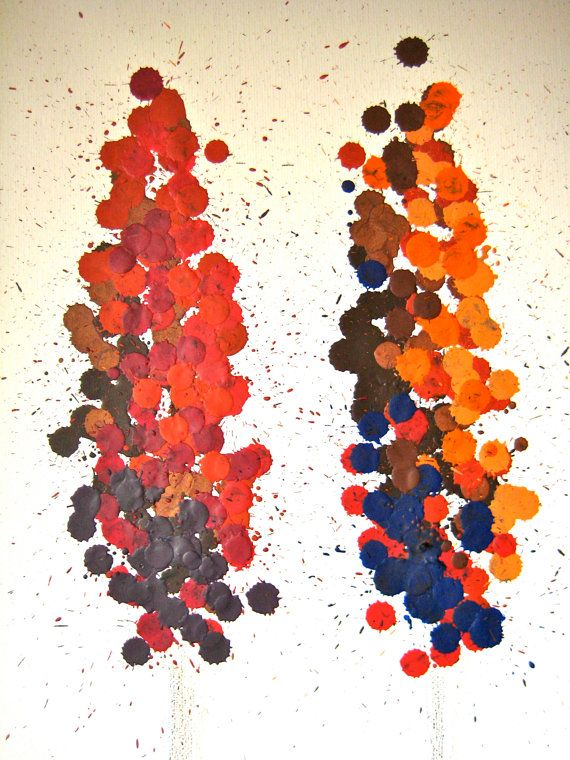 Melted crayon autumn trees by StretchedStudios on Etsy, $65.00