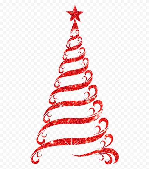 Hd Beautiful Red Ribbon Line Glitter Christmas Tree Png Glitter Christmas Red Ribbon Christmas Tree