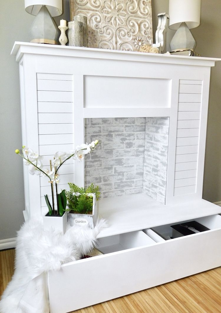 diy faux fireplace with shiplap and extra storage extra storage