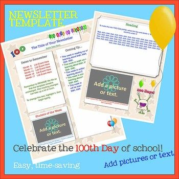 Free newsletter template 100th day of school theme word school free newsletter template 100th day of school theme word spiritdancerdesigns Choice Image