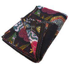 BLACK INDIAN FLORAL COTTON BEDSPREAD THROW Decorative Vintage Ethnic Handmade 54