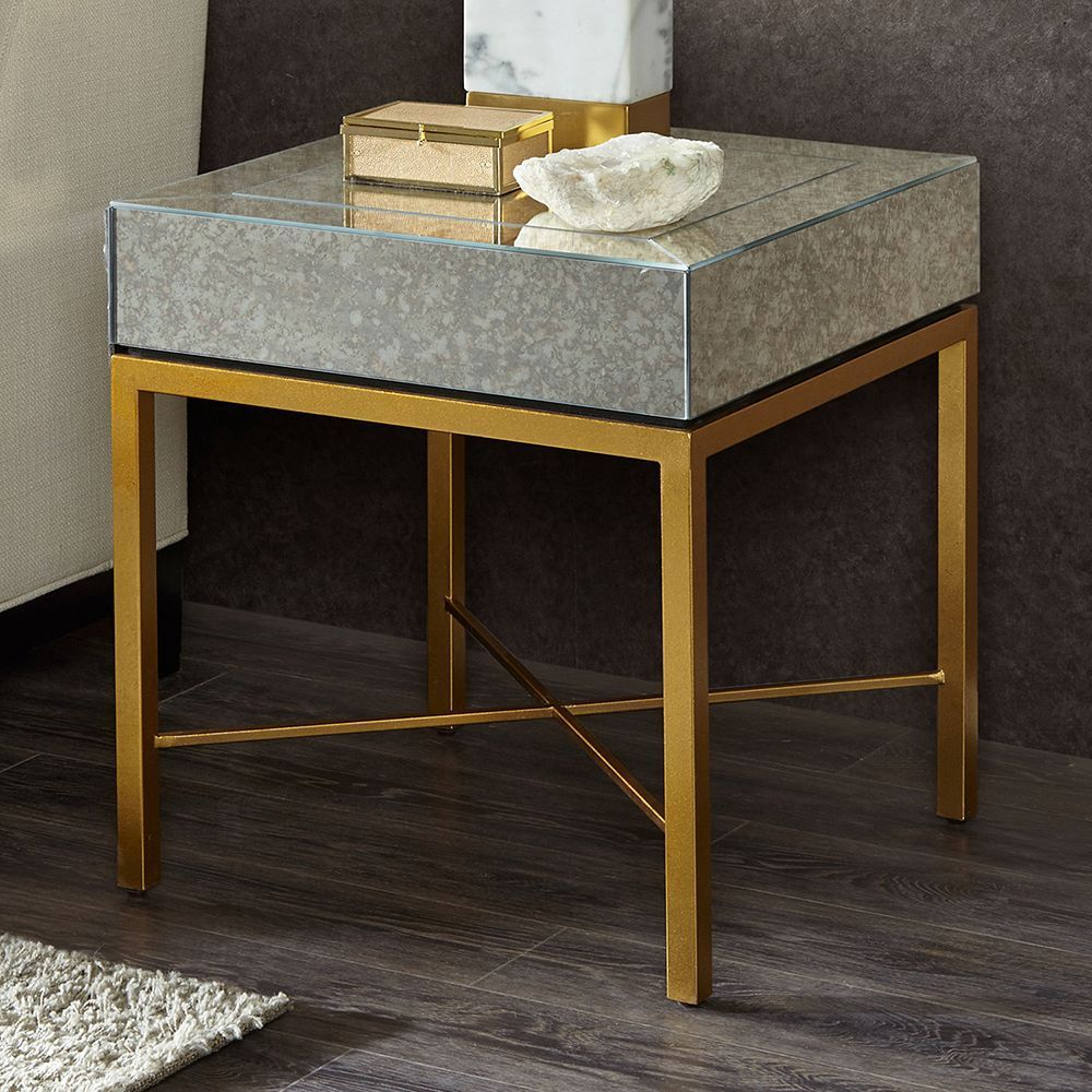 Glamorize your living room decor with this madison park willa end table featuring an antiqued mirror top