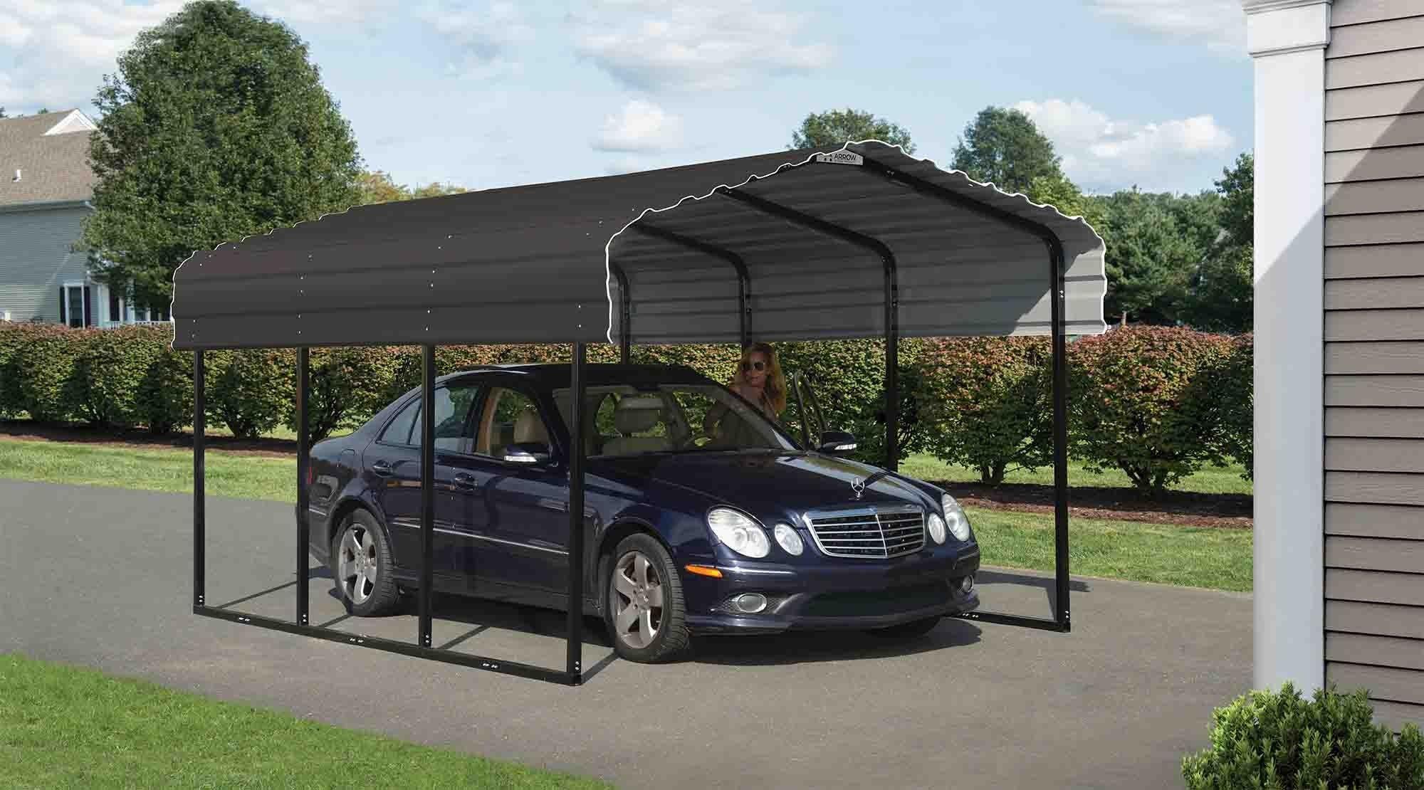 Arrow Carport 10x15x7, 29 Gauge Galvanized Steel Roof